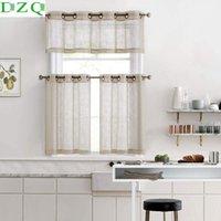 الستائر الستائر DZQ الكتان محكم قصير شير الستائر لغرفة المعيشة نوم المطبخ نافذة العلاج لوحات الديكور الصغيرة