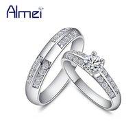 49% av Alibaba-Express Vintage Par Ringar Silver Färg Kvinnor Fianit Smycken Män Par Ring Lovers Bröllop Bague Anillos J511