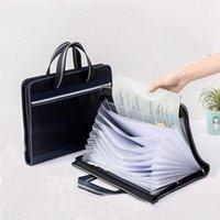 Storage Bags Canvas Accordion Bag Folder 13 Grid Waterproof Student Test Paper Clip Briefcase Handbag