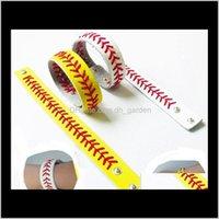 Charm Bracelets Jewelry Softball Baseball Leather Wrap Bracelet Mens Sports Snap Closure Wristband Bangle For Women Fan Jewelry In Bk Drop D