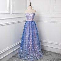 Bridesmaid Dress 2021 Blue And Purple Wedding Dresses Elegant Sweetheart Collar Bow Belt Plus Size Patchwork Color Party Vestido