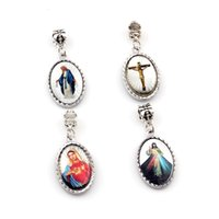 50Pcs Oval Double Sided Jesus Christ Icon Dangle Charm Pendants For Jewelry Making Bracelet Necklace DIY Accessories 17.5X41mm A-566a