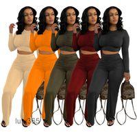 Casuales Dos piezas Conjuntos Para Mujeres Trajes Slim Pleated Camiseta Pantalones anchos Pantalones de pierna ancha 2021 Plaza de las mujeres de la caída de la primavera LULU365