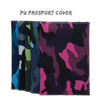 Card Holders Travel Designer Army Camouflage Pu Passport Cover Women Men ID Holder Case Ticket Document Clip Organizer