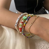 Acrylic Letter Butterfly Beaded Strands Bracelets Women Multi Layer Imitation Pearl Chain European Retro Party Gift Gold Bracelet Jewelry Sets Accessories