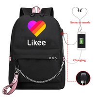 Backpack Likee USB Charging Video App Laptop School Bags For Teenage Girls 2021 Russian Styles Pink Bookbag Black