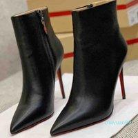 Siyah Hakiki Deri Seksi Bayan Yüksek Topuklu Patik Deri Ayak Bileği Çizmeler Kırmızı Alt Pompalar Paris Kırmızı Tabela KUTUSU KUTUSLARI 30210 ile Ayak Bileği Patik