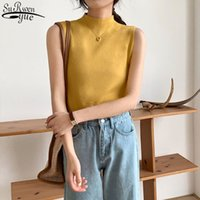 Sexy Knitted Top Summer Turtleneck Tank Female Sleveless T-shirt Vest Casual Women Camisole Blouse Sleeveless Slim 13122 210427