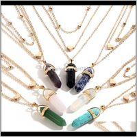 & Pendants Jewelryfashion Multi-Layer Chain Necklaces Mens Womens Created Gemstone Natural Stone Hexagonal Pendant Necklace Women Kimter-D78