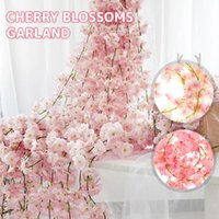 Decorative Flowers & Wreaths 4Pcs 180CM Artificial Cherry Blossom Wedding Garland Ivy Decoration Fake Silk Vine For Party Ceiling Decor Arch