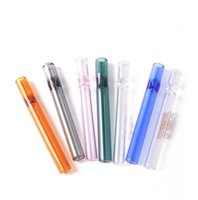 Entry model colroful thick pyrex 4inch One Hitter Bat Cigarette Holder Glass Steamroller Pipe filters for tobacco dry herb oil burner hand pipes