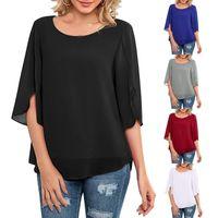Chiffon Summer T Shirt Womens Fashion Casual Top Round Neck Loose Tops 3 4 Sleeve Oversized T-shirt Ropa Mujer Women's