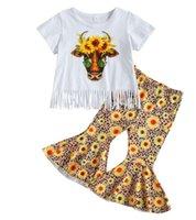 Маленькая девочка набор одежды с короткими рукавами оревных вершин + цветочные печатные брюки 2 шт. Костюм для отдыха день рождения