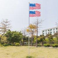 EU estoque 20ft américa bandeira solene decoração ao ar livre decoração seção halyard pole alumínio EUA flagpole kit bola de ouro Finial com corda branca