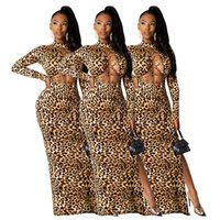 Women maxi casual dresses fall winter clothes sexy club elegant print leopard hollow out long cap sleeve split beachwear sheath column holiday party wear 01725