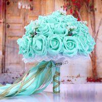 Flores do casamento Moda Borgonha Buquê Rosa / Vermelho / Branco / Borgonha Nupcial Flower Flower Artificial Rose Noiva