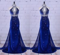 Fashion Royal Blue Velvet Mermaid Prom Evening Dresses Formal Gowns Halter Keyhole Neck Rhinestones Chiffon Detachable Train Pageant Dresess