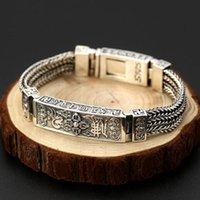 Real 100% 925 esterlina prata trançada tecida seis palavras Vajry pulseira tibetana mantra largura 13mm homens braceletes tailandês jóias link, cadeia