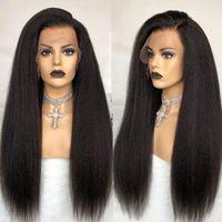 Spitze Perücken Glueless Verworrene Gerade volle menschliche Haare für Frauen Yaki Grob Wig Virgin 360 Front