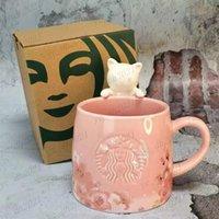 350ml Sakura Starbucks tazza di lusso tazze di bacio di lusso con cucchiaio tazze in ceramica coppie sposate coppie anniversario sirena bronzo medaglione regalo Prodotti