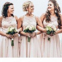 Chic Kurz Chiffon Brautjungfer Kleid Juwel Neck Spitze Applique Top Sleeveless Mädchen Ehrenkleid Boho Sommer Strand Hochzeit Kleider