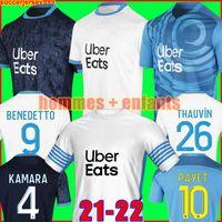 Marseille Camisa de futebol Olympique De 20 21 OM 2020 2021 maillot pé PAYET THAUVIN BENEDETTO maillots camisa de futebol masculino + infantil kit terceiro