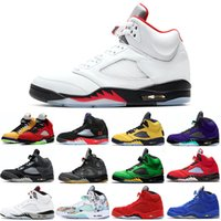 Raging Bull 5s Homens Sapatos de Basquete 5 Fogo Suede Vermelho Espaço Doce Antracite Branco Cimento Stealth Mens Trainers Esportes Sneakers