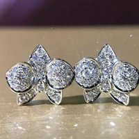 Charming Orchid Flower Stud Earrings Women Full Paved Shiny Clear CZ Wedding Engagement Jewelry Statement Accessories