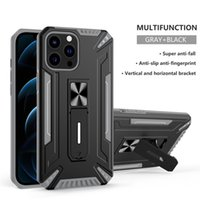 2 in 1 With magnetic Metal Ring Phone Cases For iPhone 13 12 11 Pro Max XS XR 8 7 6S Plus PC+TPU Hybrid Armor Kickstand Shockproof Case