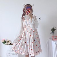 Casual Dresses Women's Chic Lady Kawaii Ulzzang Strawberry Cute Strap Dress Female Ins Vintage Harajuku For Women Sweet