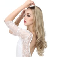 No Clip Wave wig Halo Hair Ombre Synthetic Natural Black Blonde Pink One Piece False Fish Line Fake HairPiece