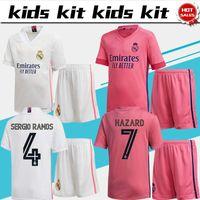 Menkids Kit Real Madrid Soccer Jerseys # 9 벤즈마 # 5 Zidane 20/21 자녀 홈 멀리 축구 셔츠 위험 Kroos Marcelo 소년 축구 유니폼