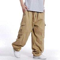 Мужские брюки Большие размеры Мужчины Хип-хоп Грузовые хлопчатобумажные Свободные мешковатые армейские брюки Широкая нога военная тактическая повседневная уличная одежда Jogger
