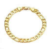 Fashion 18K Solid Yellow Gold Filled Men's OR Women's Trendy Bracelet 21cm 60cm Necklace Set Figaro Chain Watch Link Set 25 T2