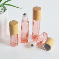 5ml 10ml Natural Bamboo Wooden Roller Bottles Rose Red Glass Cosmetic Roll-on Tubes Packging Container Mini Lips Oil Vials