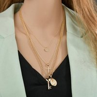Chains Modyle Bohemian Cross Key Pendant Gold Necklace Set For Women Virgin Mary Female Fashion Valentines Day Gift Jewelry
