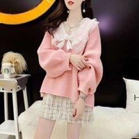 Dolce cucitura con scollo a V arco femminile autunno e inverno pizzo piccolo maglione fresco molto fata moda