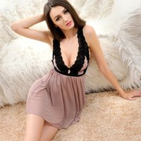 Sexy Sleepwear For Woman Lace Lingerie Nightgowns Deep V Neck Pajamas Womens hollow dress mesh open back suspender skirt S-XXXL