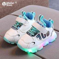 Dimensioni 21-30 Baby Scarpe luminose traspiranti scarpe luminose per ragazze Bambini Anti-slippery Ragazzi LED Light Up Casual 210727