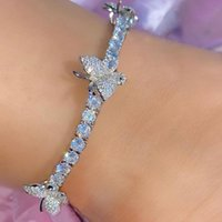 INS Style Butterfly Pendant Anklets Shiny Rhinestone Jewelry Chain Fashion Hip Pop Anklet Stylish Women Foot Accessories Wholesale