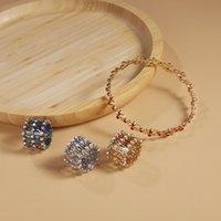 2 In 1 Magic Retractable Ring Bracelet Tennis Creative Stretchable Twist Folding Rings Crystal Rhinestone Bracelets Women Jewelry Gift