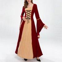 Casual kleider vintage mittelalterliches kleid frauen magische hexe maxi party kostüm cosplay bandagen flaume sleeve a-line lang