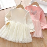 Girl's Dresses 2021 Autumn Kids For Girls Design Cute Small Wings Mesh Princess Birthday Party Wedding Dress Children Clothes