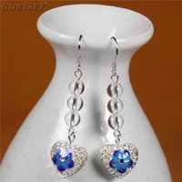 Natural Crystal Cloisonne Heart-Shaped Earrings Chinese Traditional Craft Silver-plated Ear Hook Hypoallergenic Dangle & Chandelier