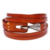 Pour 2021! 3 couleurs Bracelet en cuir multicouche Hommes Femmes Anchor Hope Femme Femme Charme Bracelets