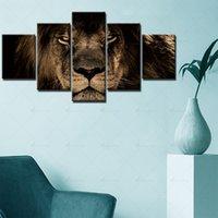 5パネルライオンヘッドウォールアートプリントキャンバス絵画家の装飾ポスター写真リビングルーム