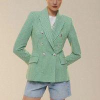Women's Suits & Blazers Women Vintage Green White Plaid Print Casual Blazer Office Lady Retro Long Sleeve Outwear Chic Leisure Coat