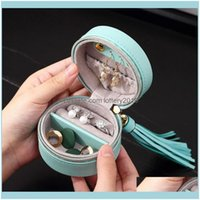 Packaging & Display Jewelryportable Jewelry Box Storage Organizer Pu Leather Round Jewellery Zipper Case J78F Pouches, Bags Drop Delivery 20