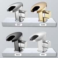 Bathroom Toilet Led Waterfall Type Water Outlet Basin Faucet Single Hole Wash Under The Platform Sink Faucets