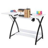 Waco stof naaimachine tafel, multifunctionele tafel snijden ambachtelijke computer bureau voor thuis studie kantoor pc schrijven werkstation, metalen frame stevig, wit